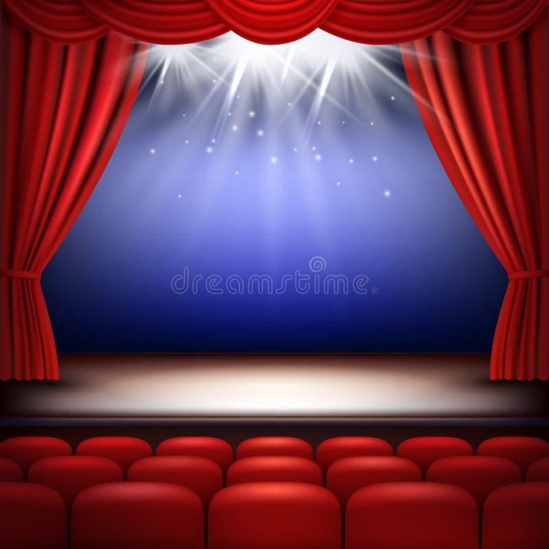 Στάδιο θεάτρων Εορταστικό φως οπερών κινηματογράφων ακροατηρίων υποβάθρου με το κόκκινο διάνυσμα κουρτινών μεταξιού και καθισμάτω απεικόνιση αποθεμάτων