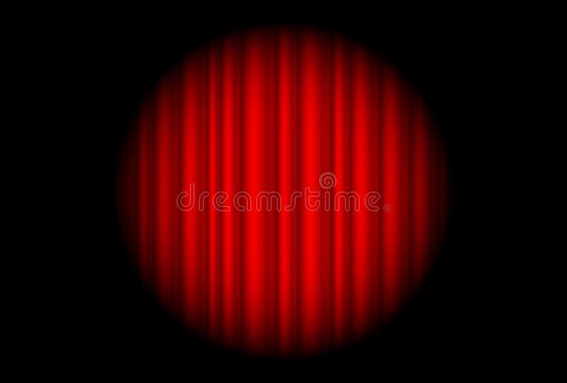 Στάδιο με την κόκκινη κουρτίνα και το μεγάλο φως σημείων ελεύθερη απεικόνιση δικαιώματος