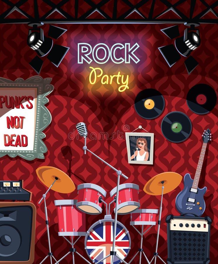 Στάδιο μουσικής ροκ στο μπαρ έτοιμο για το κόμμα ελεύθερη απεικόνιση δικαιώματος