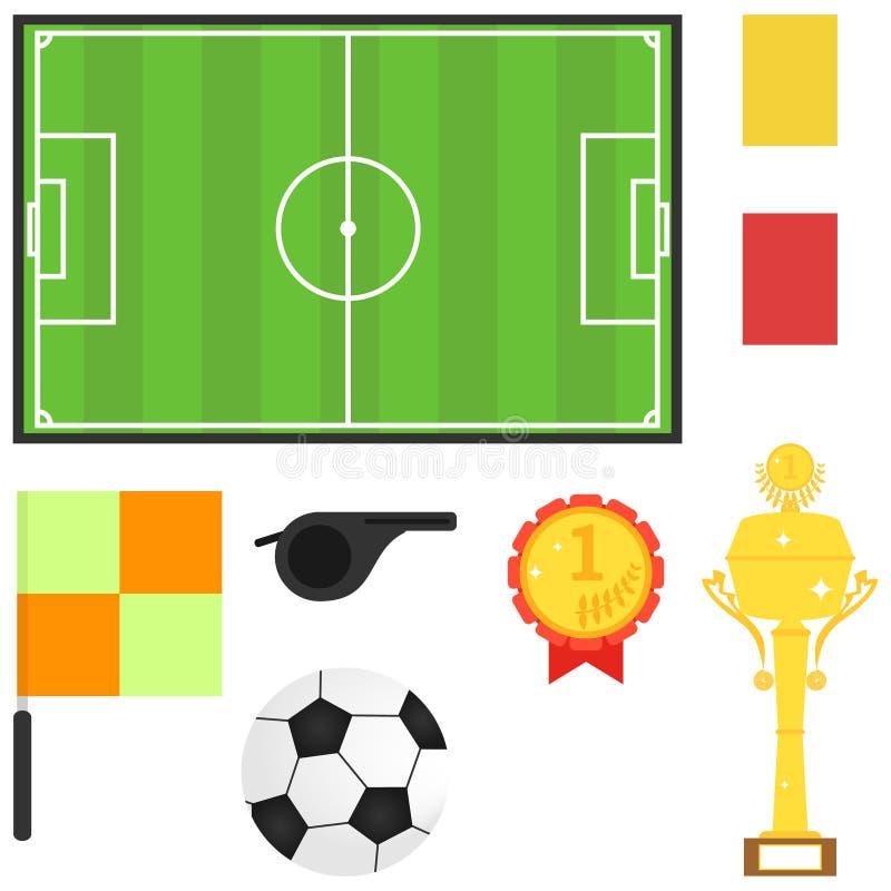 Στάδιο, σφαίρα ποδοσφαίρου, αθλητικό τρόπαιο Θέματα για το ποδόσφαιρο διανυσματική απεικόνιση
