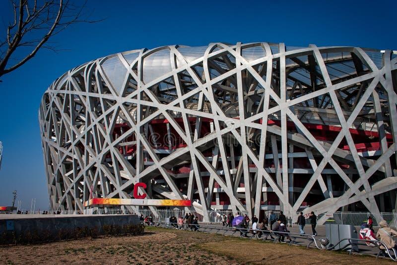 Στάδιο φωλιών πουλιών που χτίζεται για τους 2008 Ολυμπιακούς Αγώνες στο Πεκίνο, Κίνα στοκ εικόνα με δικαίωμα ελεύθερης χρήσης