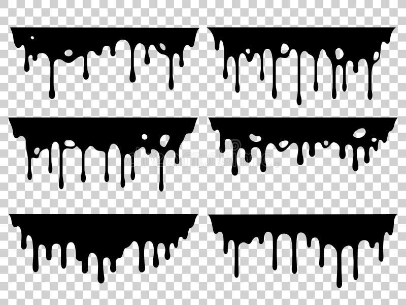 Στάζοντας λεκές πετρελαίου Υγρό μελάνι, σταλαγματιά χρωμάτων και πτώση των λεκέδων σταλαγμάτων Η μαύρη ρητίνη μελάνωσε απομονωμέν διανυσματική απεικόνιση