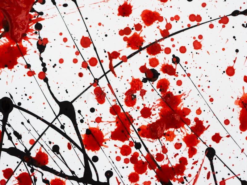 Στάζοντας μαύροι και κόκκινοι λεκέδες του χρώματος παρόμοιοι με τους ρέοντας παφλασμούς, τις πτώσεις και τα ίχνη μαζούτ αίματος διανυσματική απεικόνιση
