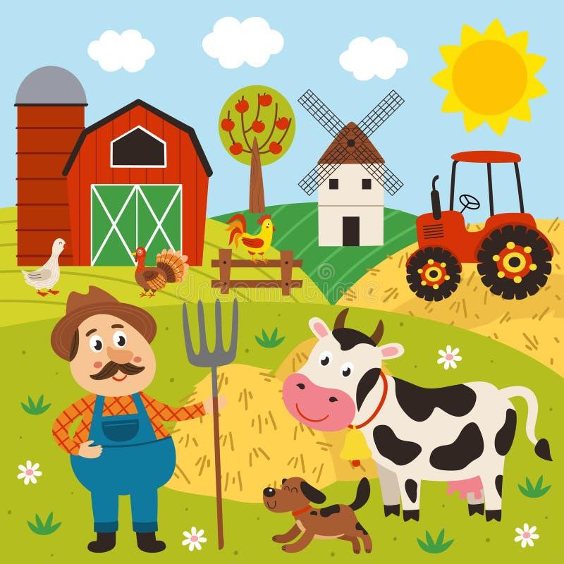 στάσεις αγροτών barnyard με μια αγελάδα και ένα σκυλί ελεύθερη απεικόνιση δικαιώματος