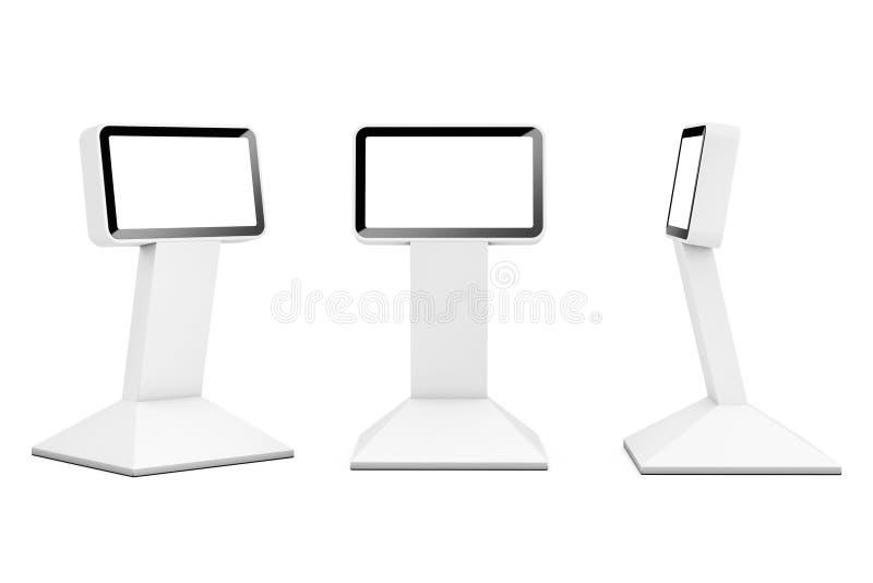 Στάσεις επίδειξης πληροφοριών LCD τρισδιάστατη απόδοση διανυσματική απεικόνιση