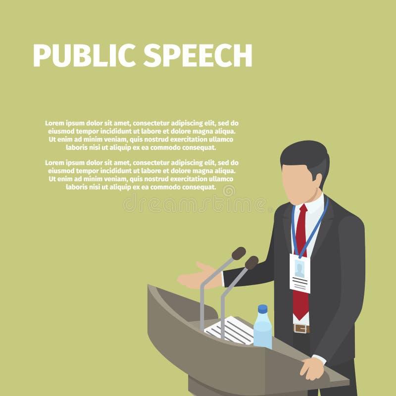 Στάσεις επιχειρηματιών πίσω από την εξέδρα στη δημόσια ομιλία ελεύθερη απεικόνιση δικαιώματος