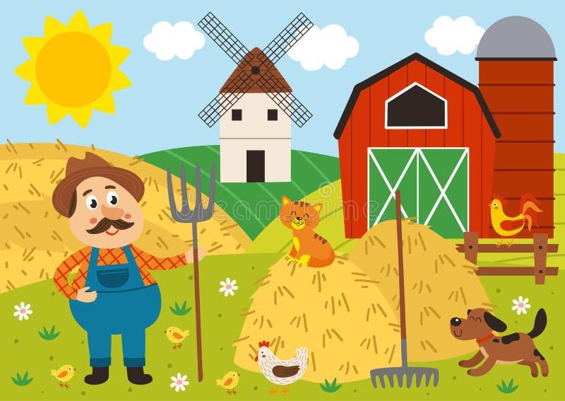 Στάσεις της Farmer barnyard με το pitchfork και τα κατοικίδια ζώα απεικόνιση αποθεμάτων