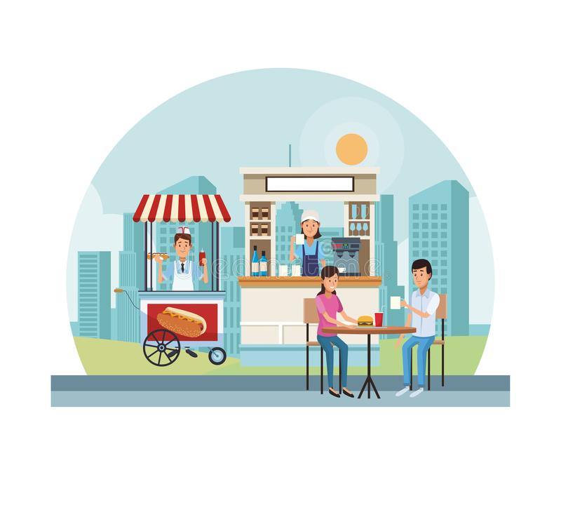 Στάσεις τροφίμων και ποτών απεικόνιση αποθεμάτων