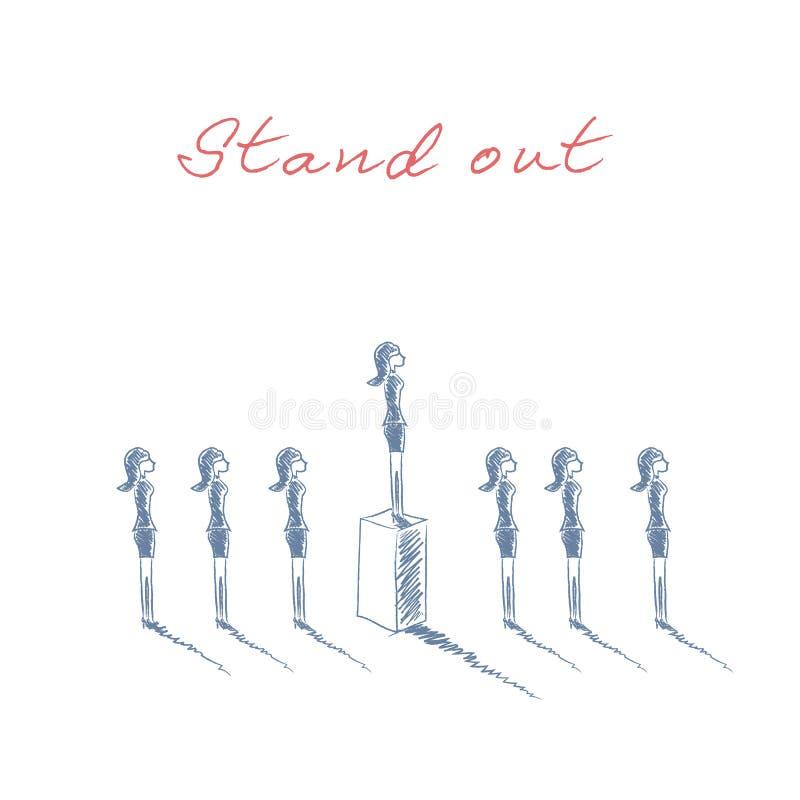 Στάση έξω από την επιχειρησιακή έννοια πλήθους με τις επιχειρηματίες στη γραμμή Ταλέντο ή ειδικό σύμβολο δεξιοτήτων Συρμένο χέρι  ελεύθερη απεικόνιση δικαιώματος