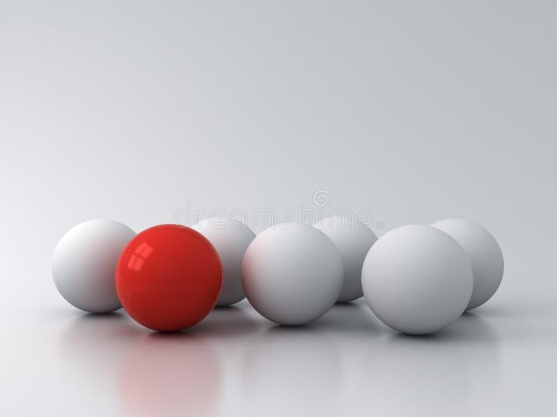 Στάση έξω από το πλήθος και τις διαφορετικές δημιουργικές έννοιες ιδέας μια κόκκινη σφαίρα που στέκεται μεταξύ των άσπρων σφαιρών απεικόνιση αποθεμάτων