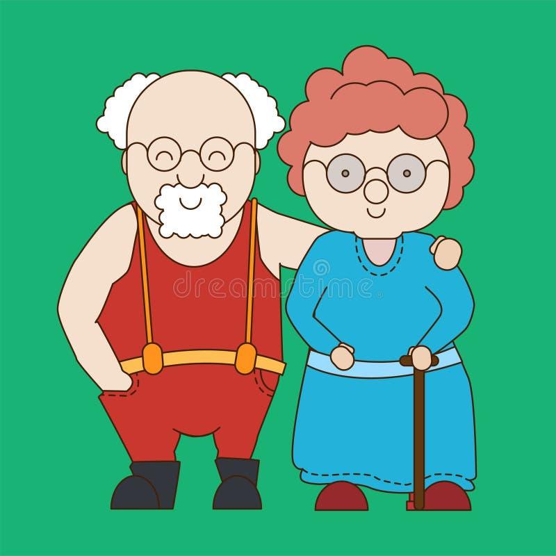 Στάση γιαγιάδων και παππούδων σε έναν εναγκαλισμό Χαριτωμένη απεικόνιση στο ύφος κινούμενων σχεδίων r διανυσματική απεικόνιση