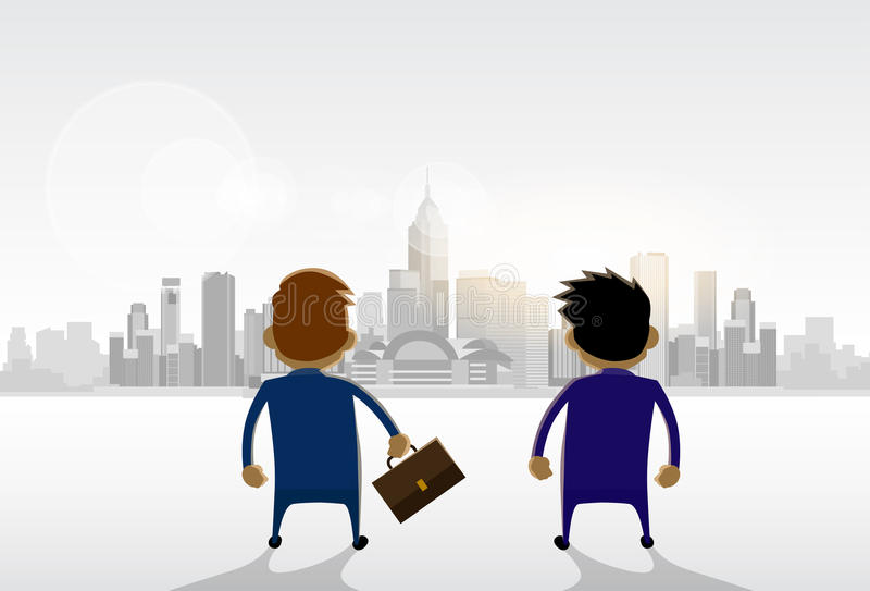 Στάση επιχειρηματιών που φαίνεται πανόραμα άποψης πόλεων διανυσματική απεικόνιση
