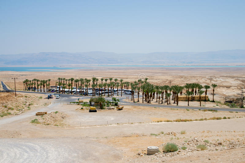 Στάση λεωφορείου κοντά σε Masada στοκ εικόνα με δικαίωμα ελεύθερης χρήσης