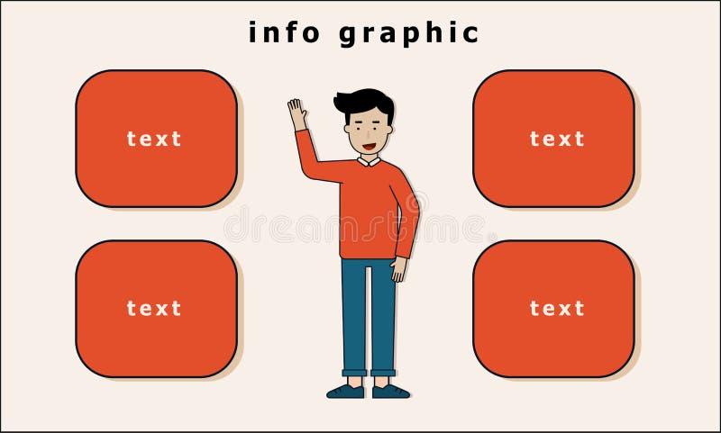 στάση και χέρι ατόμων επάνω στις πληροφορίες γραφικές διανυσματική απεικόνιση