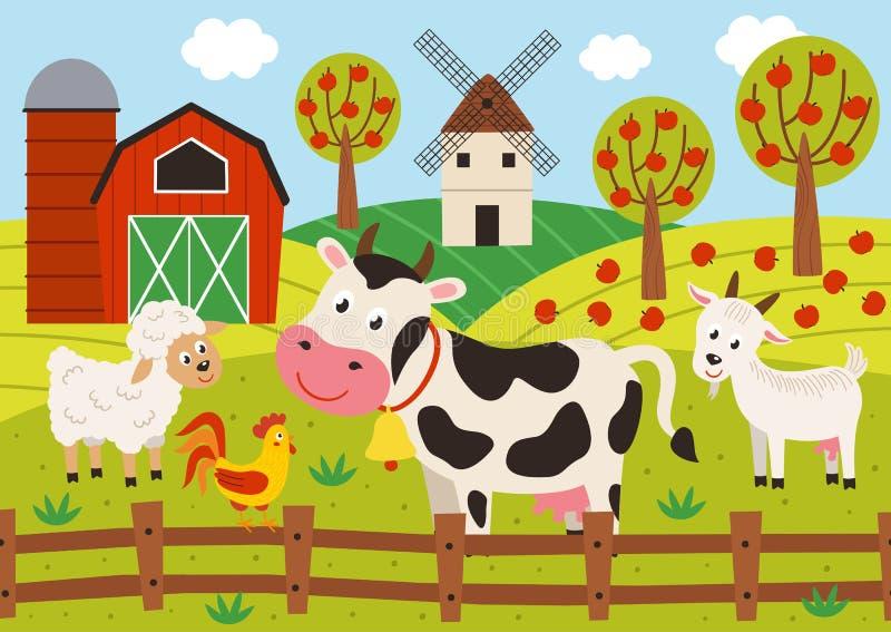 Στάση κατοικίδιων ζώων barnyard απεικόνιση αποθεμάτων