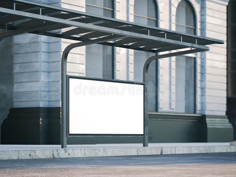 Στάση λεωφορείου με τον παλαιό πίνακα διαφημίσεων τρισδιάστατη απόδοση απεικόνιση αποθεμάτων