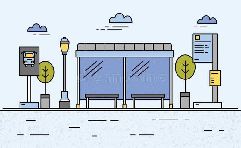 Στάση λεωφορείου, φωτεινός σηματοδότης, χρονοδιάγραμμα δημόσιων συγκοινωνιών και πληροφορίες για τους επιβάτες διανυσματική απεικόνιση