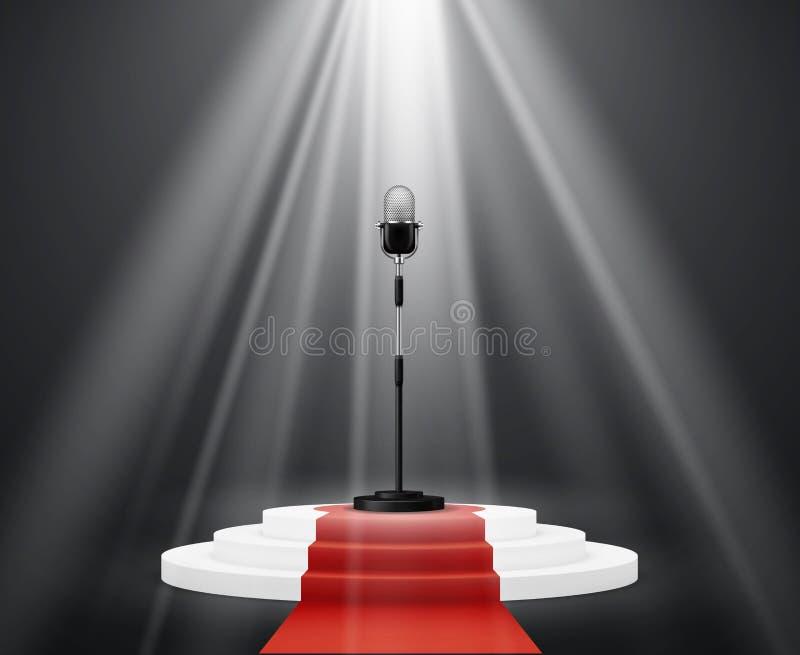 Βιομηχανία διασκέδασης Στάση μικροφώνων στη σκηνή γύρω από την εξέδρα Φωτισμένο διάνυσμα τελετής πλατφορμών βάθρων διανυσματική απεικόνιση