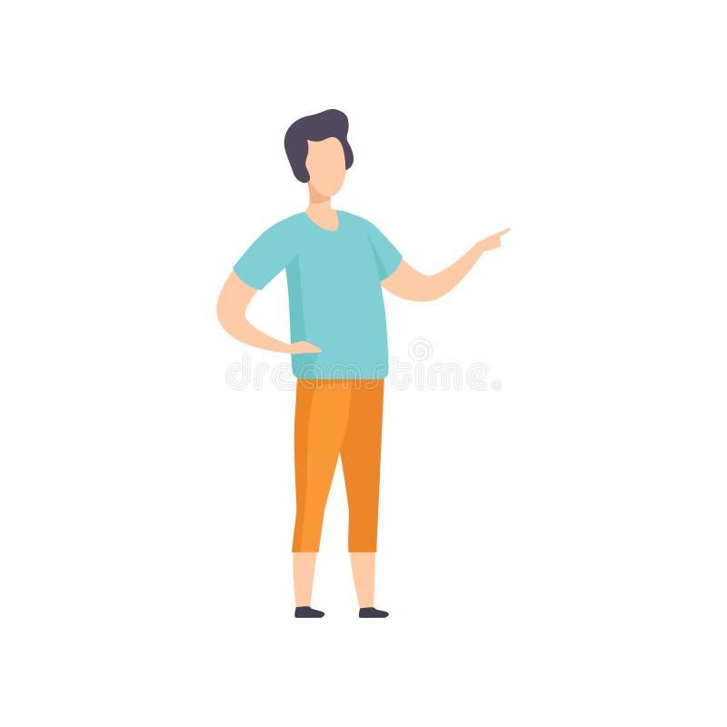 Στάση νεαρών άνδρων που δείχνει το δάχτυλο, απρόσωπος χαρακτήρας προσώπων που η διανυσματική απεικόνιση σε ένα άσπρο υπόβαθρο διανυσματική απεικόνιση