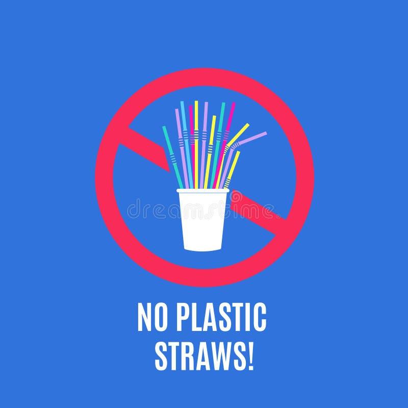 Στάση που χρησιμοποιεί τα πλαστικά άχυρα Καμία πλαστική διανυσματική έννοια αποβλήτων εκστρατείας και συσκευασίας ρύπανσης με τα  διανυσματική απεικόνιση