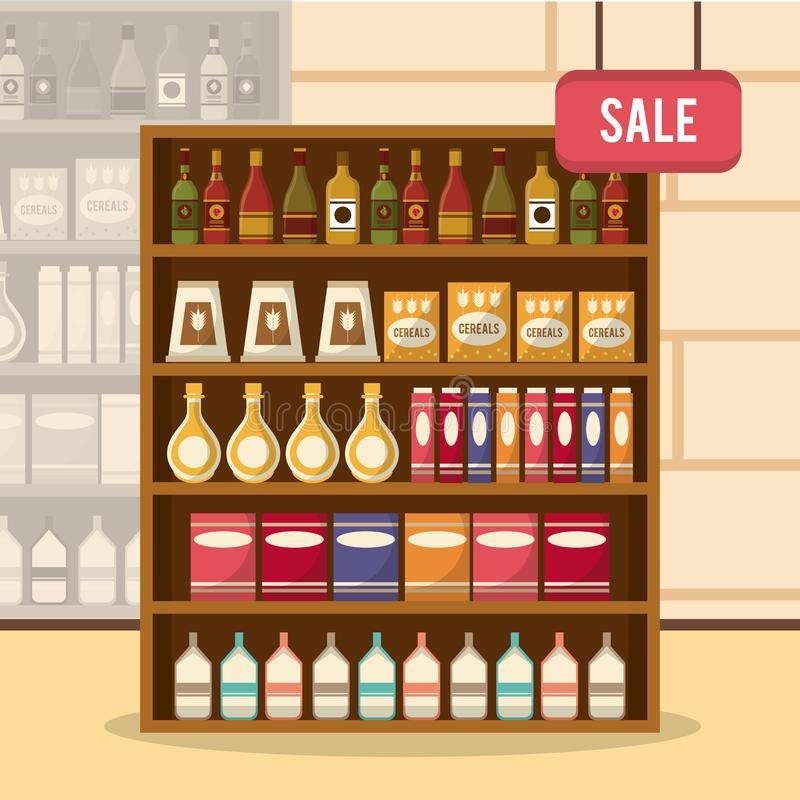 Στάση πώλησης υπεραγορών διανυσματική απεικόνιση