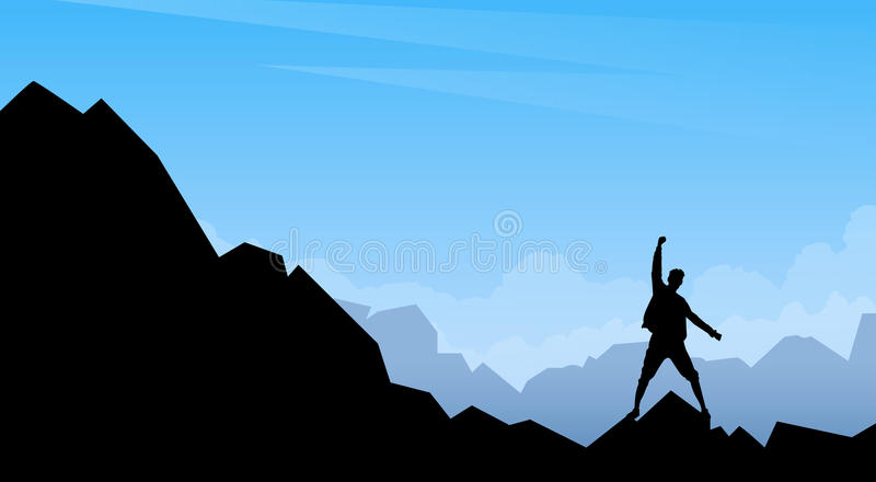 Στάση σκιαγραφιών ταξιδιωτικών ατόμων στο βράχο βουνών απεικόνιση αποθεμάτων