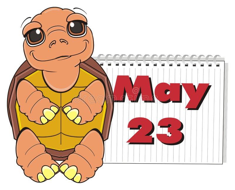 Στάση χελωνών κοντά στο ημερολόγιο απεικόνιση αποθεμάτων
