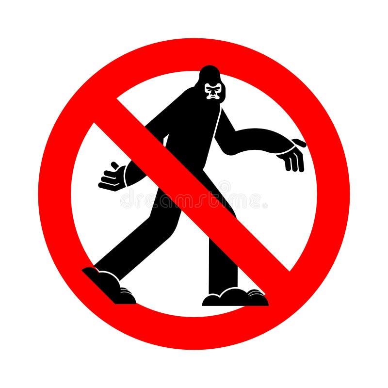 Στάση Bigfoot Απαγόρευση Yeti Κόκκινο οδικό σημάδι απαγόρευσης Κανένα sasquatch ελεύθερη απεικόνιση δικαιώματος