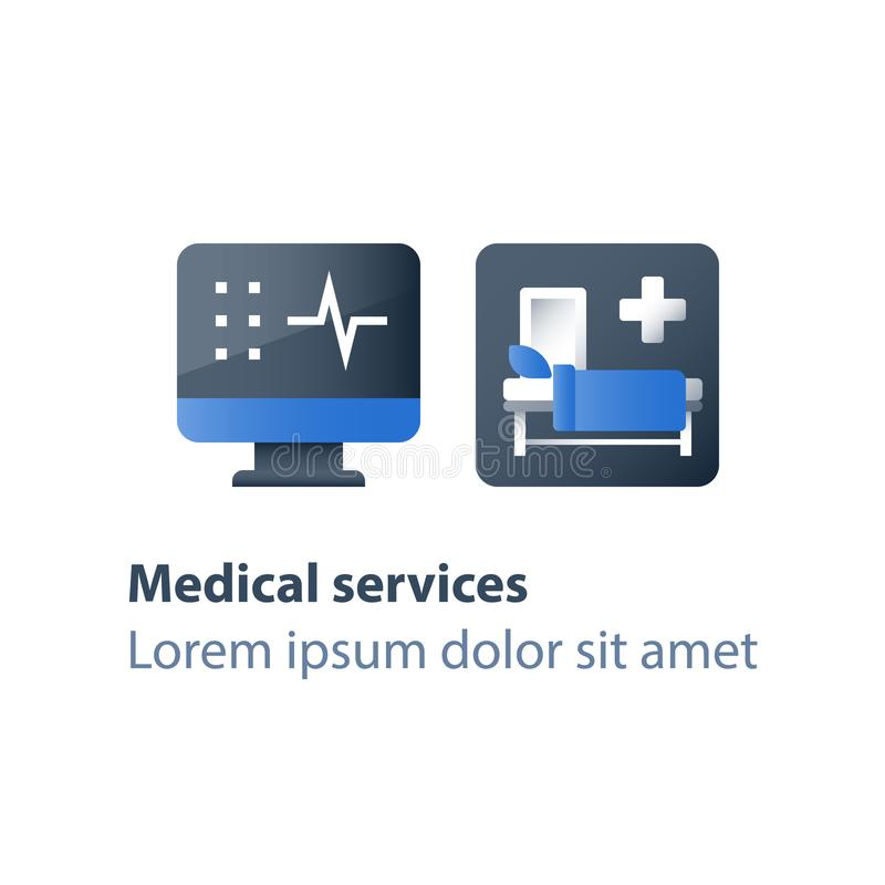 Στάσιμη θεραπεία, κούνια στο θάλαμο, νοσοκομειακό κρεβάτι, ιατρική συμμετοχή, εισαγωγή σε νοσοκομείο και θεραπεία, δωμάτιο χειρου ελεύθερη απεικόνιση δικαιώματος