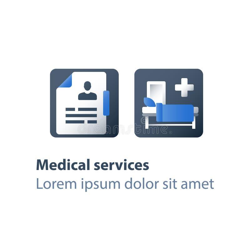 Στάσιμη θεραπεία, κούνια στο θάλαμο, νοσοκομειακό κρεβάτι, ιατρική συμμετοχή, εισαγωγή σε νοσοκομείο και θεραπεία, δωμάτιο χειρου διανυσματική απεικόνιση
