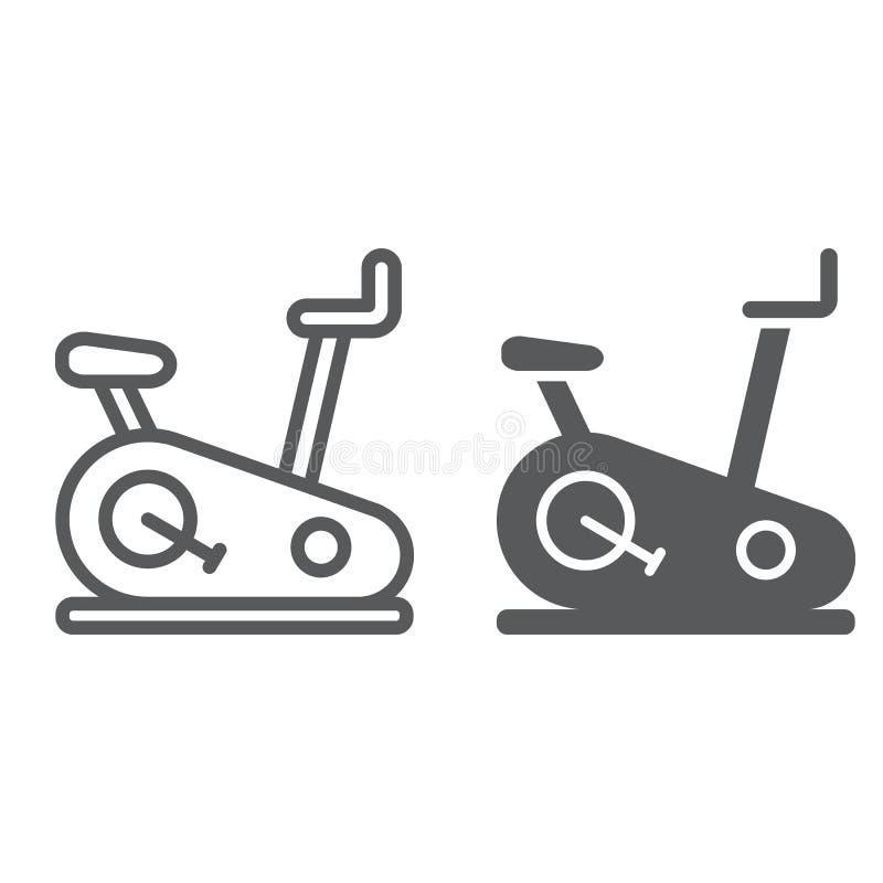 Στάσιμο γραμμή ποδηλάτων και glyph εικονίδιο, αθλητισμός και εξοπλισμός, σημάδι ποδηλάτων άσκησης, διανυσματική γραφική παράσταση διανυσματική απεικόνιση
