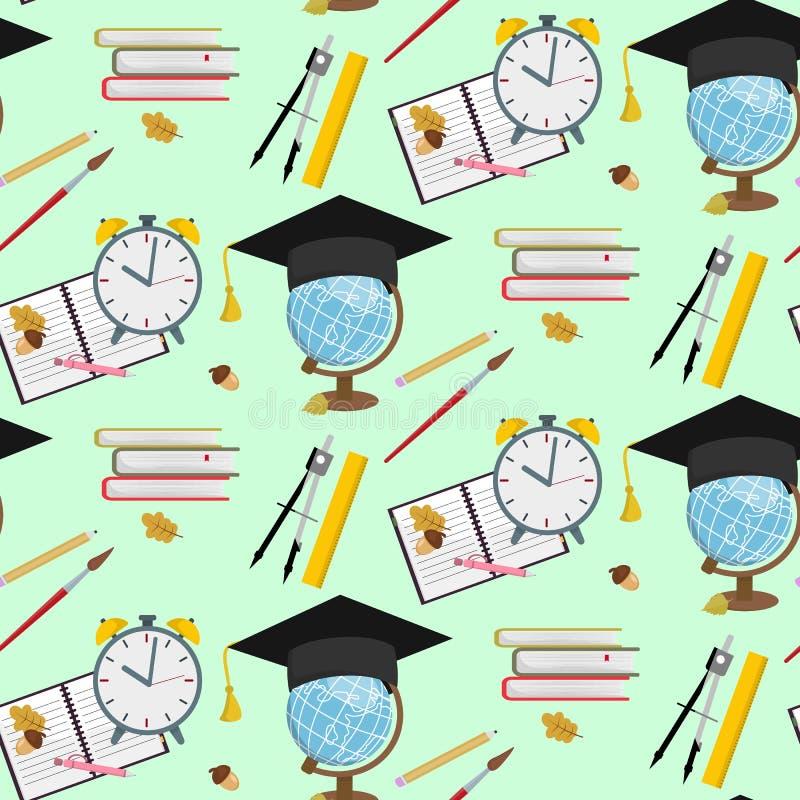 Στάσιμο εκπαιδευτικό βοηθητικό άνευ ραφής σχέδιο παιδιών σχολικών προμηθειών διανυσματική απεικόνιση