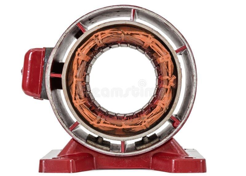 Στάτης του ηλεκτρικού κινητήρα, που απομονώνεται στο άσπρο υπόβαθρο στοκ φωτογραφία