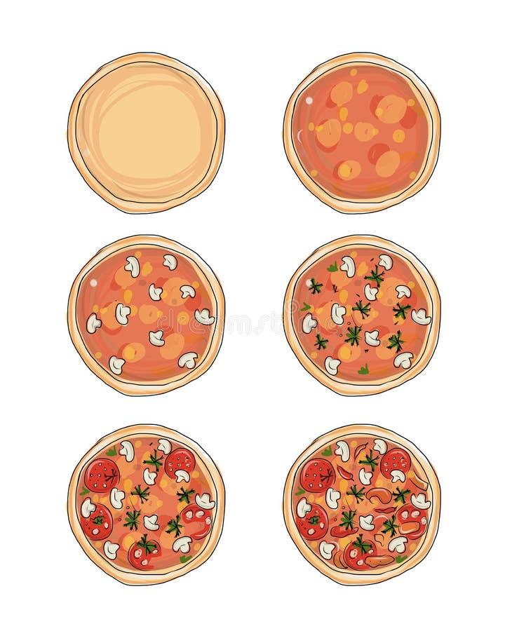 Στάδια του μαγειρέματος της πίτσας, σκίτσο για το σχέδιό σας διανυσματική απεικόνιση