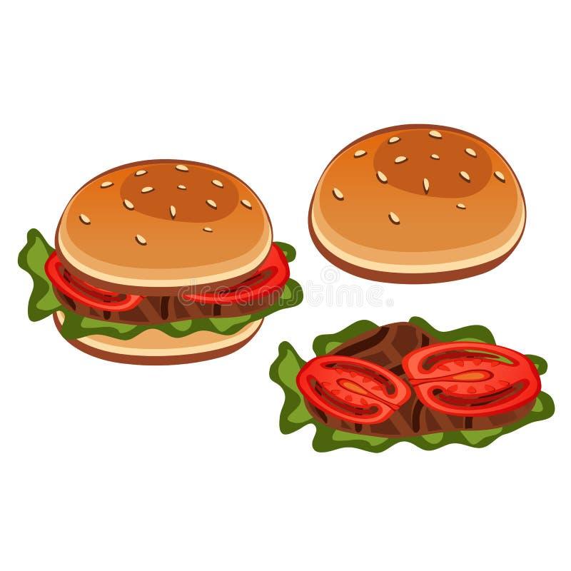Στάδια του σάντουιτς προετοιμασιών με την ντομάτα ελεύθερη απεικόνιση δικαιώματος