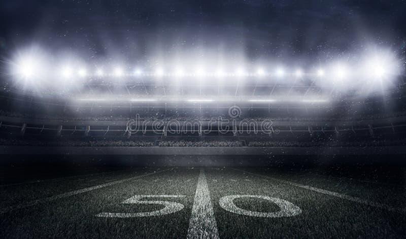 Στάδιο αμερικανικού ποδοσφαίρου στα φω'τα και τις λάμψεις απεικόνιση αποθεμάτων
