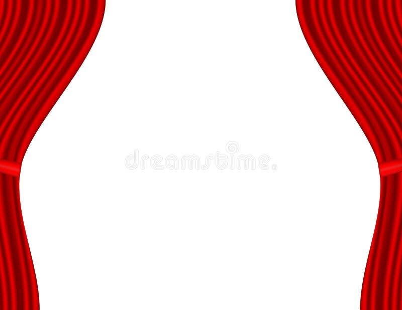 Στάδιο θεάτρων με το κόκκινο άσπρο υπόβαθρο κουρτινών διανυσματική απεικόνιση