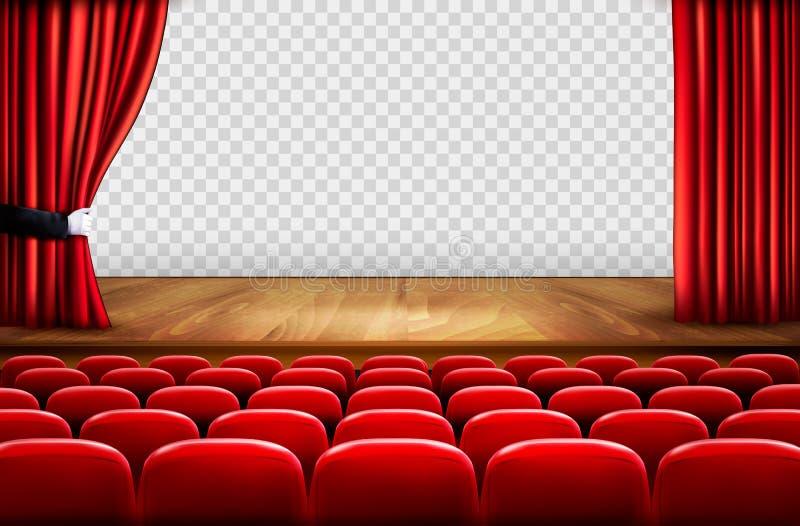 Στάδιο θεάτρων με το ξύλινο πάτωμα και τις ανοικτές κόκκινες κουρτίνες ελεύθερη απεικόνιση δικαιώματος
