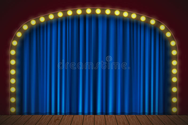 Στάδιο με την μπλε κουρτίνα απεικόνιση αποθεμάτων