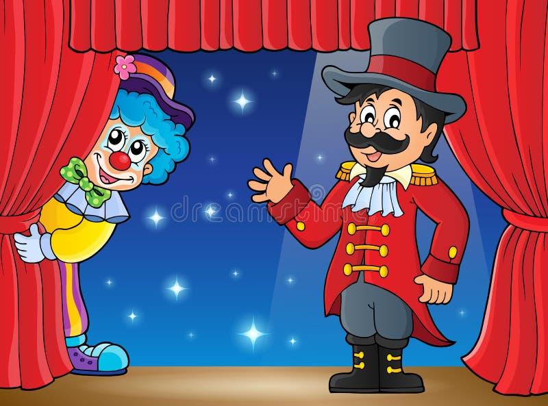 Στάδιο με τον παρουσηαστή προγράμματος τσίρκου και να κρυφτεί τον κλόουν διανυσματική απεικόνιση