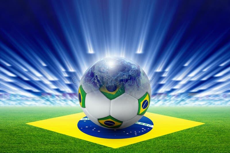 Στάδιο ποδοσφαίρου, σφαίρα, σφαίρα, σημαία της Βραζιλίας διανυσματική απεικόνιση
