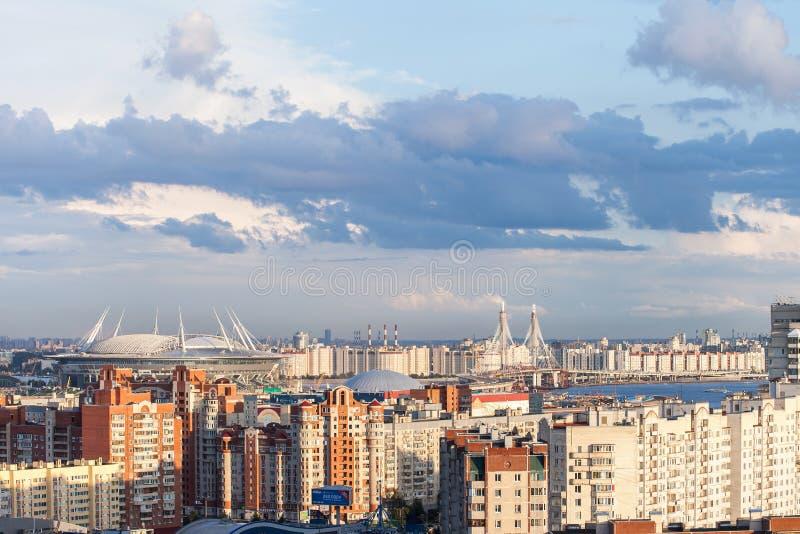 Στάδιο στην Άγιος-Πετρούπολη Ρωσία για το Παγκόσμιο Κύπελλο 2018 της FIFA και ευρο- 2020 γεγονότα UEFA στοκ εικόνα με δικαίωμα ελεύθερης χρήσης