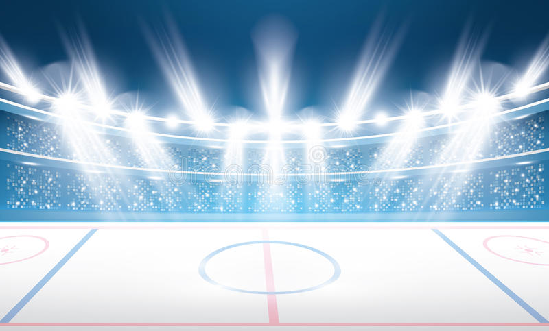 Στάδιο χόκεϋ πάγου με τα επίκεντρα απεικόνιση αποθεμάτων