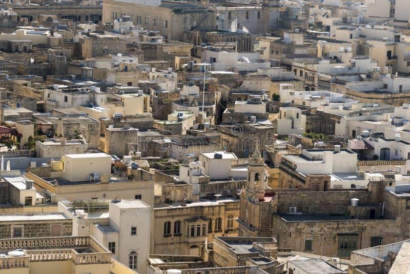 Στέγες Βικτώριας από την ακρόπολη Βικτώριας Gozo Μάλτα στοκ εικόνα