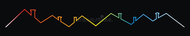 Στέγες και καπνοδόχοι, πολύχρωμο σχέδιο περιγράμματος, διανυσματικό εικονίδιο ελεύθερη απεικόνιση δικαιώματος