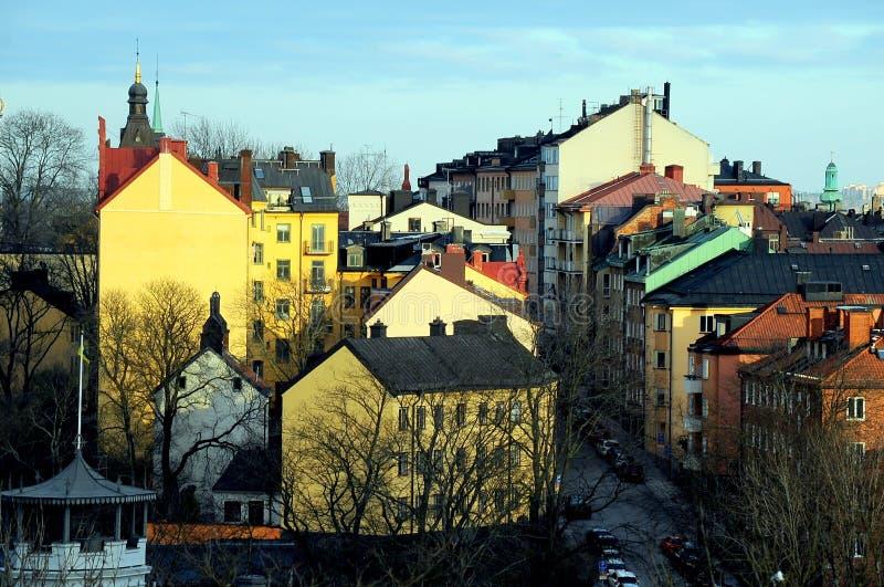 Στέγες σε Sodermalm, StoÑ  kholm, Σουηδία στοκ φωτογραφίες με δικαίωμα ελεύθερης χρήσης