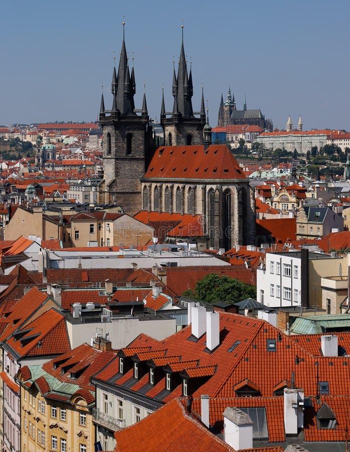 Στέγες στην Πράγα στοκ φωτογραφίες