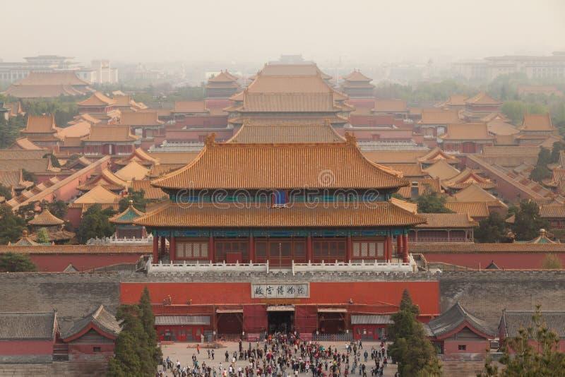 Στέγες της απαγορευμένης πόλης στο Πεκίνο στοκ φωτογραφία με δικαίωμα ελεύθερης χρήσης