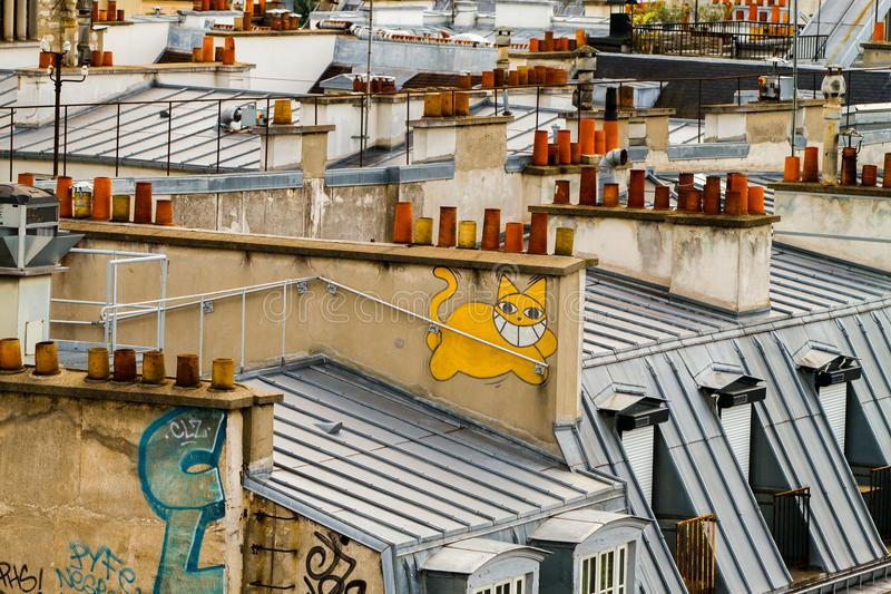 Στέγες του Παρισιού στοκ εικόνες