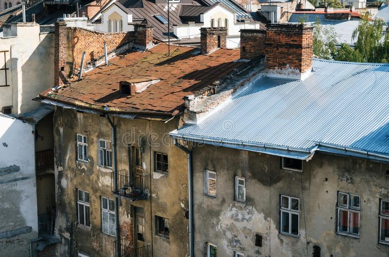 Στέγες των σπιτιών Lviv, Ουκρανία στοκ εικόνες με δικαίωμα ελεύθερης χρήσης